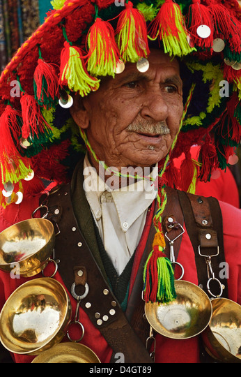 Portrait of guerrab (water carrier), Marrakesh, Morocco, North Africa - Stock Image