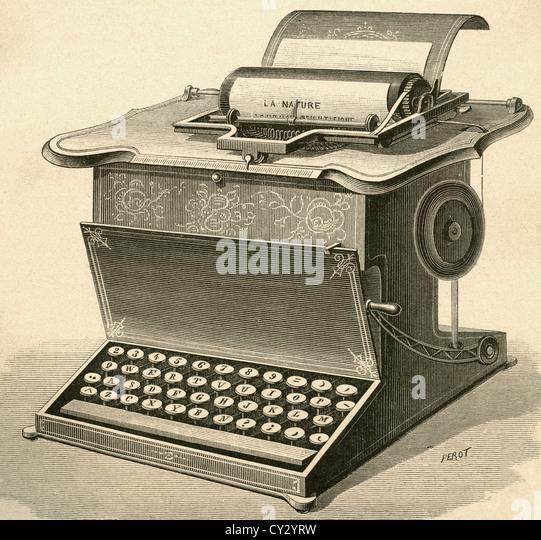 19th century typewriter. - Stock Image