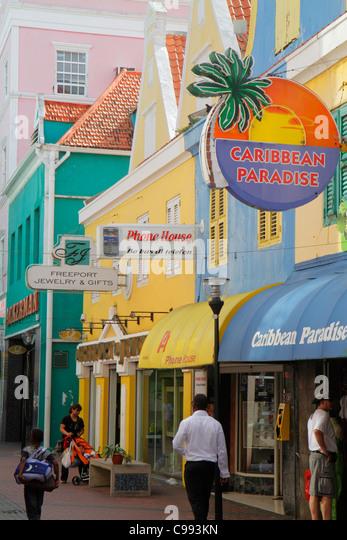 Curaçao Netherlands Antilles Dutch Willemstad Punda Herenstraat shopping UNESCO World Heritage Site business - Stock Image