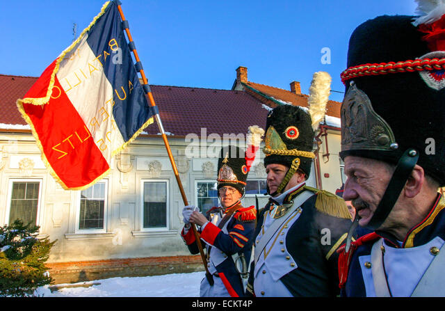 Reenactment of the Battle of Austerlitz (1805) French troops in Tvarozna village. Images taken during the 200th - Stock Image