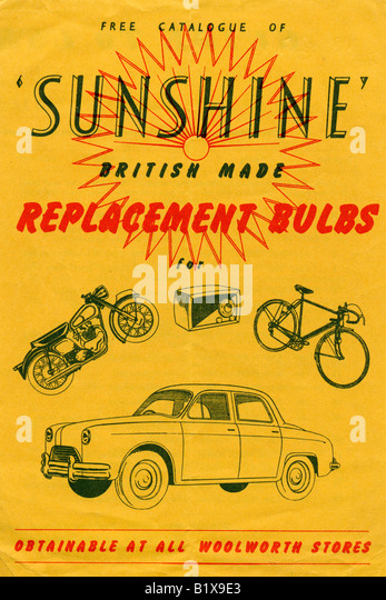 Late 1940s Early 1950s catalogue of Sunshine Replacement Bulbs for Motor Cars Bicycles and Motor Cycles FOR EDITORIAL - Stock Image