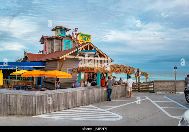 Pompano Joe's restaurant and bar, at Miramar Beach, just east of Destin, Florida, on the Gulf of Mexico. The - Stock Image