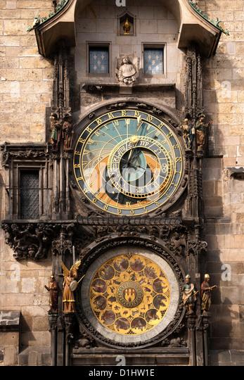 The Astronomical clock on the Old Town Hall Tower in Staroměstské náměstí (Old Town Square) in Prague. - Stock Image