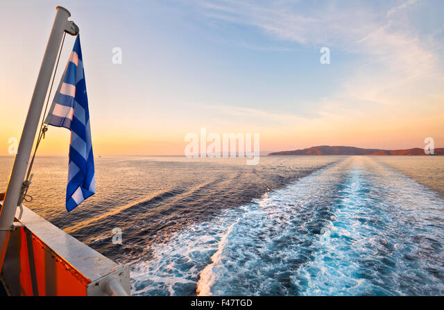 View of Kythnos from a ferry leaving the island. - Stock Image