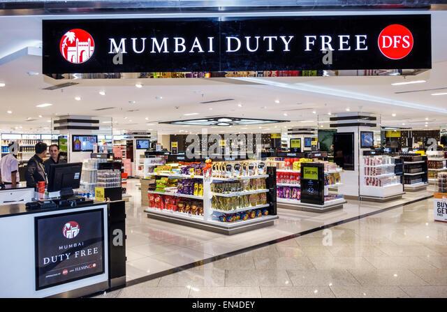 India Mumbai Chhatrapati Shivaji International Airport shopping Mumbai Duty Free front entrance sale display - Stock Image