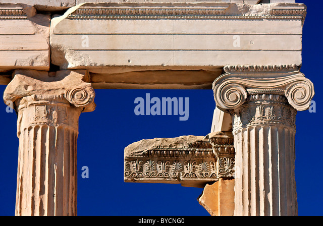 'Detail' from the 'backside' of the Erectheion Temple with Ionic columns, in Acropolis, Athens, - Stock Image