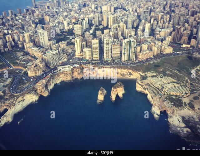 Beirut Landmark from Sky - Levanon - Stock Image