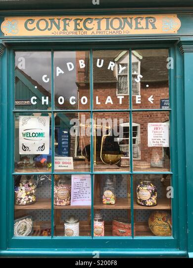 Confectioner old shop window, Blists Hill, Shropshire, England - Stock Image