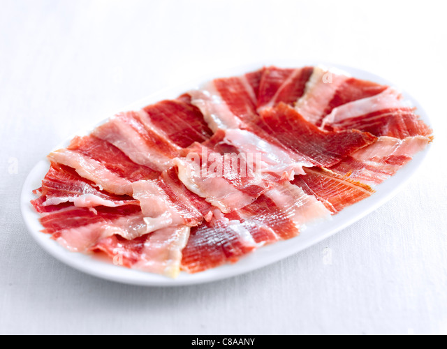 Sliced Pata Negra ham from Bellota - Stock Image