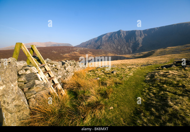 The Nantlle Ridge from Cwm Silyn, Snowdonia, North Wales, UK - Stock Image