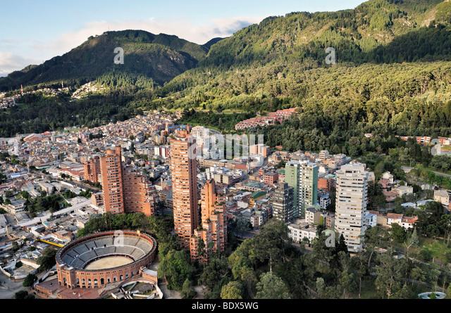 Aerial view of the Santa María bullrings in Bogotá, Colombia. - Stock Image