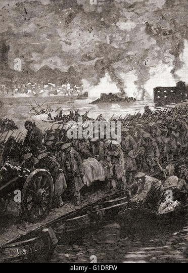 Crimean War.  Siege of Sebastopol.  Russian troops retreat from the city, September, 1855. - Stock Image