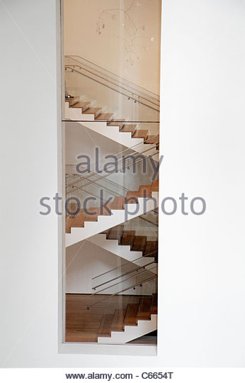 New York New York City NYC Midtown Manhattan 53rd Street The Museum of Modern Art MoMA building interior stairs - Stock Image