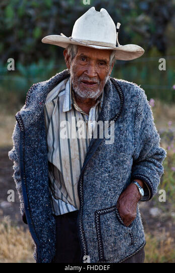 Old COWBOY in historic MINERAL DE POZOS which was once a large mining town - MEXICO - Stock Image
