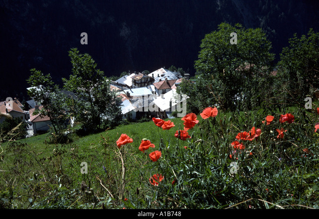 The village of Peisey Nancroix in the French Alps, France - Stock Image