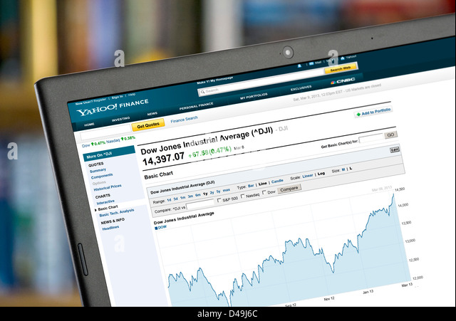 Yahoo Finance chart showing the rise in the Dow Jones Industrial Average up till March 8th 2013 over a 1 year period - Stock Image