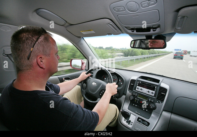 Berlin, tense motorists on the highway - Stock Image