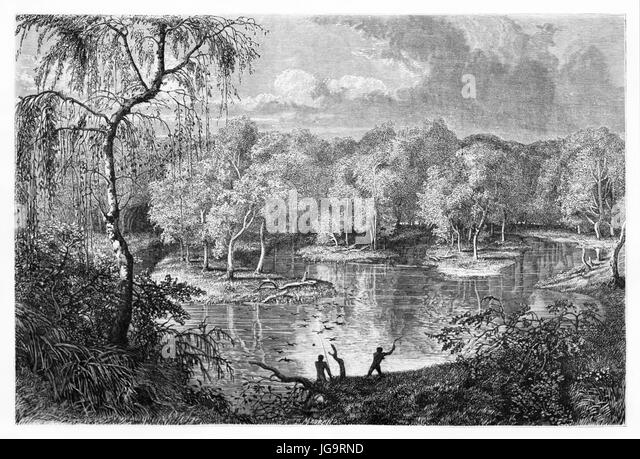 Old view of Murray river overflow, Australia. Created by Francais after Mitchell, published on Le Tour du Monde, - Stock Image