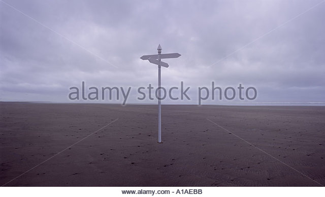 Empty beach with signpost - Stock Image