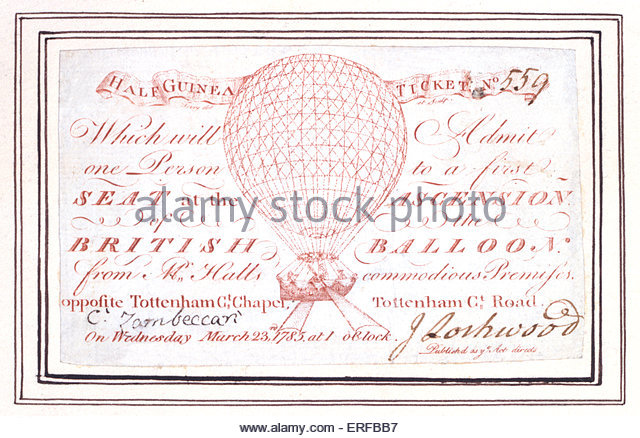 Half guinea ticket for a  balloon ascent at Tottenham Court Road, London, England on the 23rd March 1785. - Stock Image