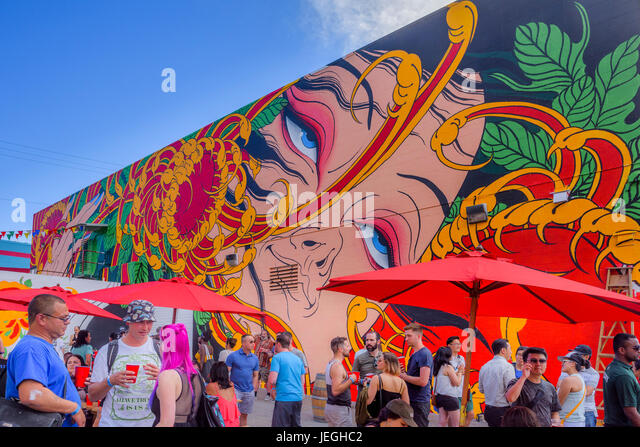 Vancouver, Canada. 24th Jun, 2017. Strathcona Street Party, Vancouver Mural Festival, Vancouver, British Columbia, - Stock Image