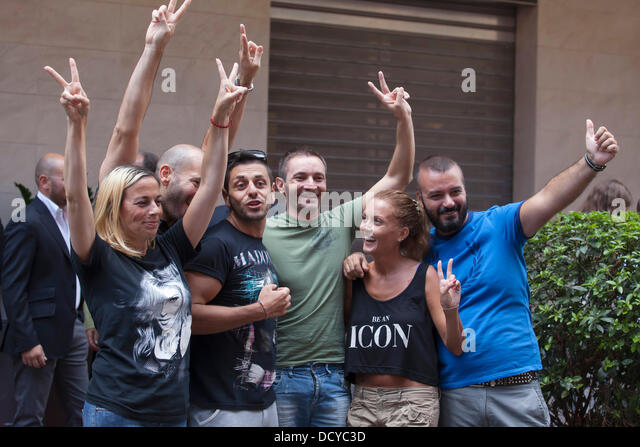 Rome, Italy. 21st Aug, 2013. Opening of Madonna's HardCandy Fitness gym in Rome Lucky fans selected to meet - Stock Image