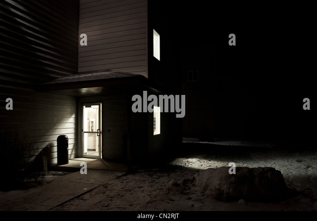 Light through hotel door, Big Sky Ski Resort, Montana, USA - Stock-Bilder
