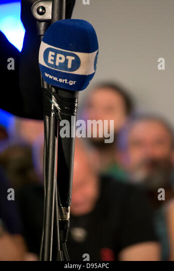 Athens, Greece, June 11th, 2013. Greek government decides to close down ERT, the Greek public radio and television - Stock Image