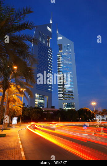 The Emirates Towers, Dubai, United Arab Emirates. - Stock Image