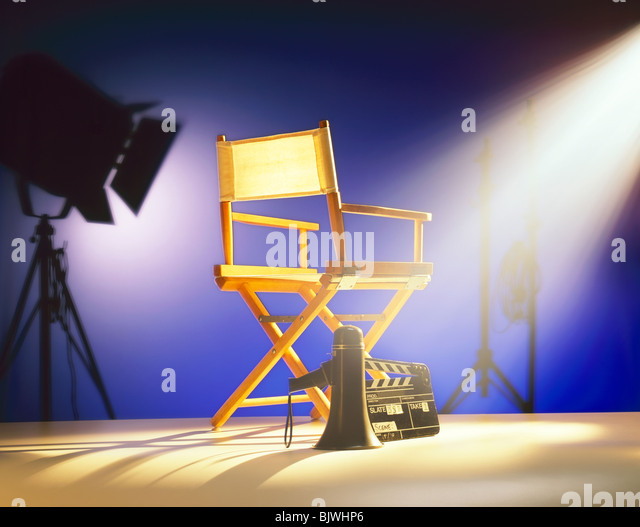 Art Director's Chair on Film Set  stage - Stock-Bilder
