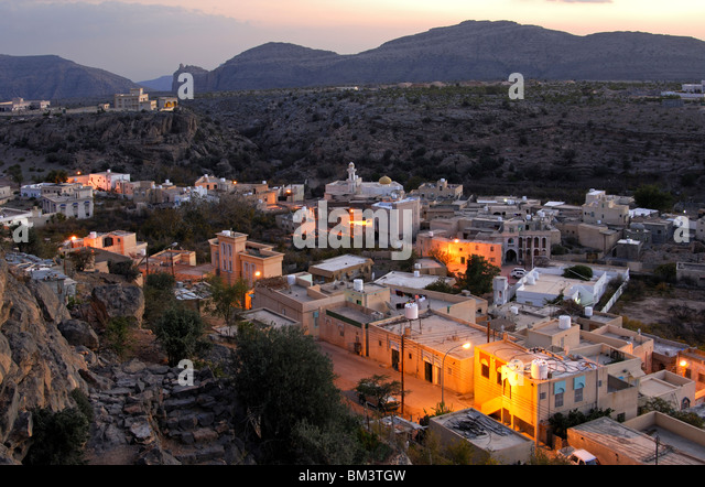 Night shot of the main municipality of Qatana on the Saiq Plateau, Jebel al Alkhdar, Al Hajar Mountains, Sultanate - Stock Image