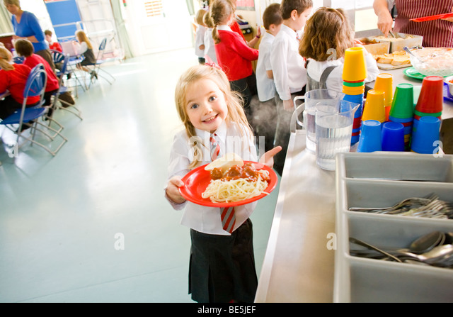 School dinner at primary school uk - Stock Image