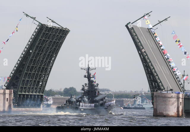 St Petersburg, Russia. 28th July, 2017. The Chuvashia missile boat takes part in a rehearsal of the upcoming Russian - Stock Image