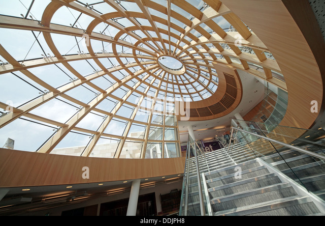 interior of the new Liverpool central library Merseyside England UK - Stock Image