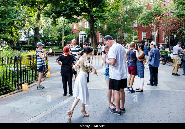 Manhattan New York City NYC NY Stuyvesant Square public park central fountain Tango Sundays with Esmeralda Argentine - Stock Image