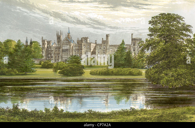 Watercolor painting of Alton Towers Castle, Staffordshire, England. - Stock-Bilder