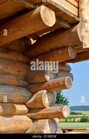 Ausschnitt eines Blockhauses, Excerpt of a log cabin, - Stock-Bilder