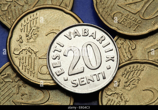Coins of Estonia. Old Estonian 20 senti coin. - Stock Image