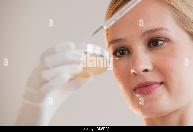 female scientist with dropper and petri dish - Stock Image