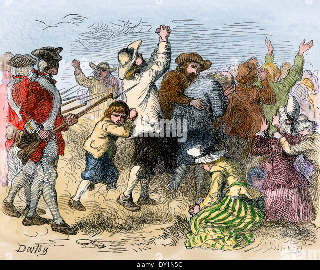 Acadians driven into exile by the British, 1750s. - Stock Image