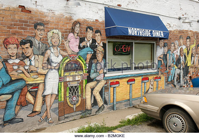 Indiana Chesterton Calumet Road Northside Diner wall mural celebrities restaurant exterior business awning window - Stock Image