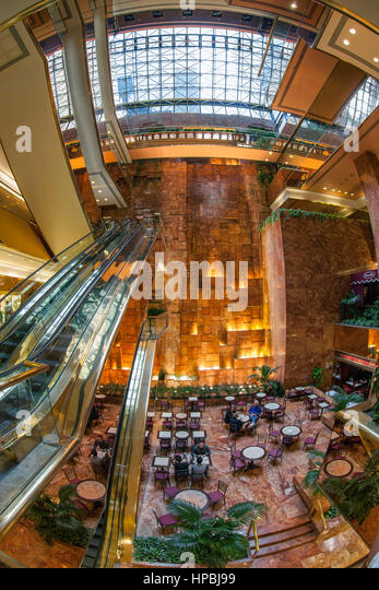 Trump Tower, Interieur, Fisheye, Lobby, Elevators, Donald Trump, New York City, United States of America - Stock Image