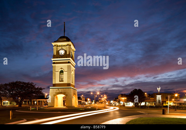 Clock tower in the square, Feilding, Manawatu, North Island, New Zealand, Pacific - Stock Image
