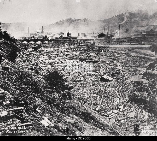 The Johnstown Flood disaster, Pennsylvania, USA, 31 May, 1889. - Stock-Bilder