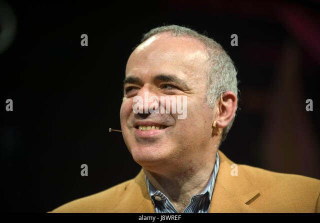 Garry Kasparov Russian chess grandmaster speaking on stage at Hay Festival 2017 Hay-on-Wye Powys Wales UK - Stock Image