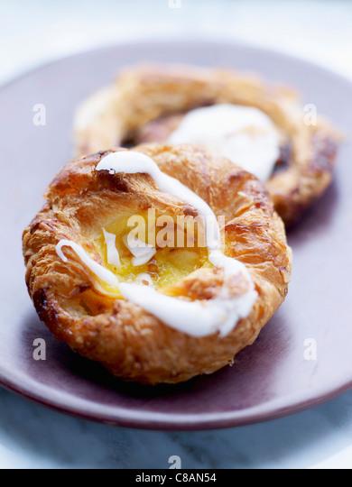 Almond cream Danish pastry - Stock Image