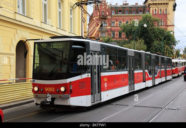 Tram No.17,  Prague, Czech Republic - Stock Image