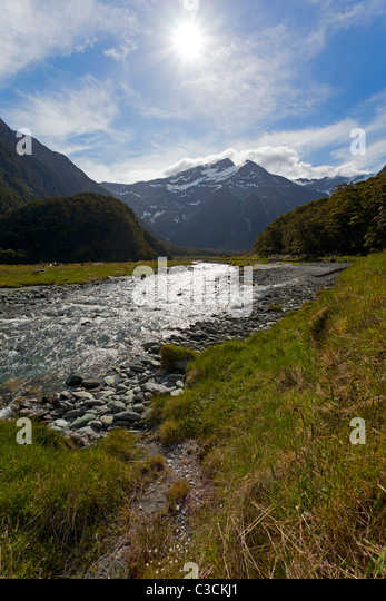 Wilkin river valley in New Zealand - Stock Image