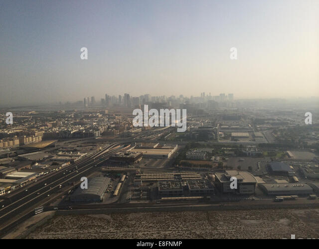 United Arab Emirates, Dubai, Aerial view of city - Stock Image