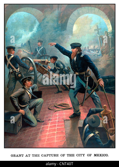 Vintage American History poster of Ulysses S. Grant commanding troops during the Mexican American War. - Stock Image